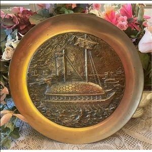 Vtg Heavy Relief Brass Korean Turtle Ship Plate